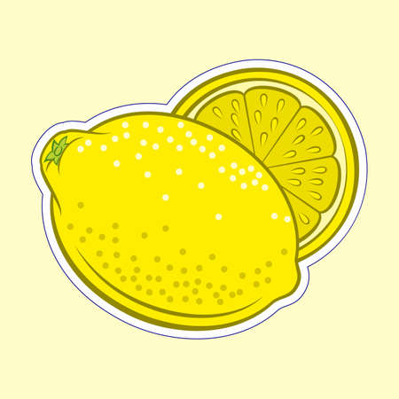 Illustration of Colorful Juicy Stylized Whole and Half Lemon. Icon for Food Apps and Stickers Isolated on a Yellow Background
