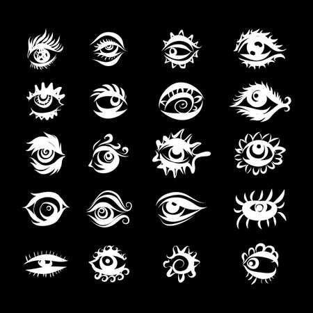 Collection of Hand Drawn Different Eyes Icons. Monochrome Drawing Elements Isolated on Black Background for Design Иллюстрация