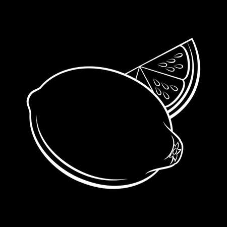 Illustration of Whole and Slice Lemon Sketch. Icon for Food Apps and Stickers Isolated on a Blackboard