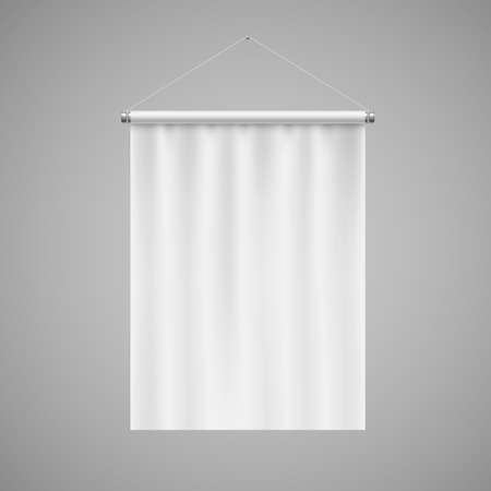 Vertical White Blank Pennant Hanging on a Gray Wall. Empty Template Illustration of Sport Flag Symbol Mockup