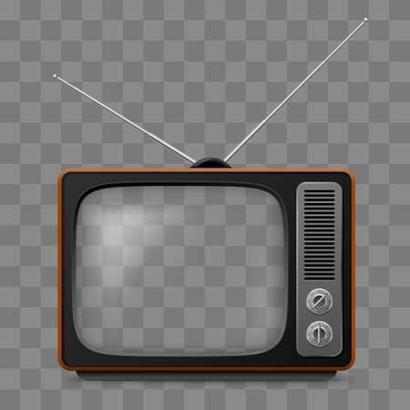 Retro Television Set Viewer Mock Up Isoler sur une grille transparente Vecteurs