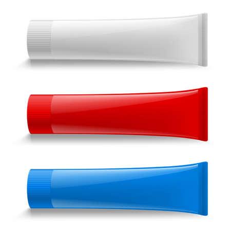 Tube Creme Set Illustration. Attrappe, Lehrmodell, Simulation. Kosmetik, Creme, Zahnpasta, Kleber weiße Kunststoffröhrchen Set Verpackung realistische Illustration. Isoliert