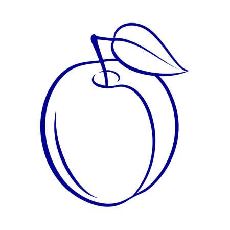 Illustration of Juicy Stylized Plum Fruit with Leaf. Decorative Retro Style Farm Product Restaurant Menu