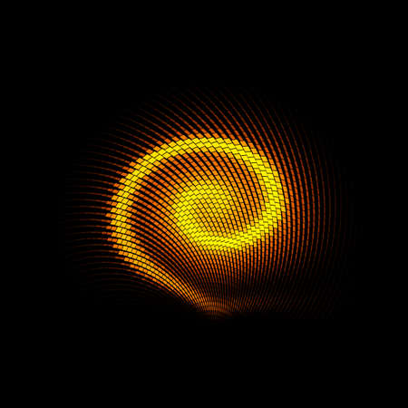 Abstract Background with Luminous Yellow Swirling Backdrop. Intersection Curves. Glowing Spiral. The Energy Flow Tunnel