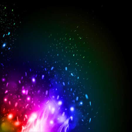 Scintille infuocate volanti con il fuoco nei colori dell'arcobaleno. Elementi di fiamme di fuoco ardente per il design. Particelle incandescenti