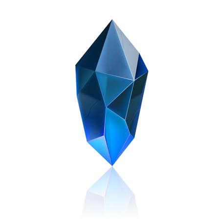 Gem or Crystal. Blue Magic Gemstone. Precious Gem Icon. Luxury Symbol on the White Background