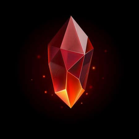 Gema o cristal. Piedra preciosa mágica roja. Icono de gema preciosa. Símbolo de lujo sobre fondo negro
