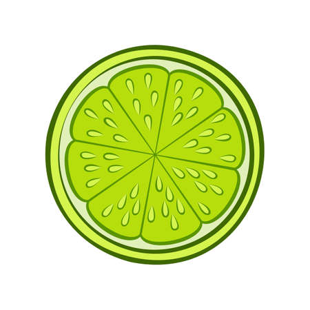 Illustration of Juicy Stylized Half Lime with Peel. Icon for Food Apps and Stickers Isolated on a White Background 矢量图像