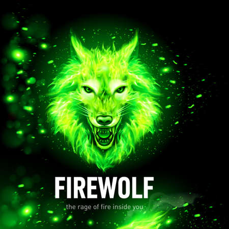 Head of Aggressive Woolf in Fire and Sparks. Concept Image of a Green Wolf and Flame on a Black Background