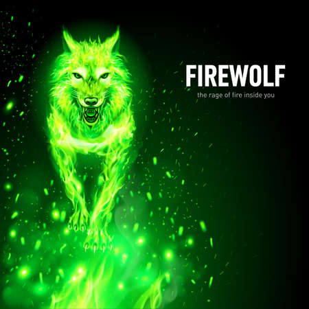 Aggressive Fire Woolf in Sparks. Concept Image of a Green Wolf and Flame on a Black Background Standard-Bild - 120931123