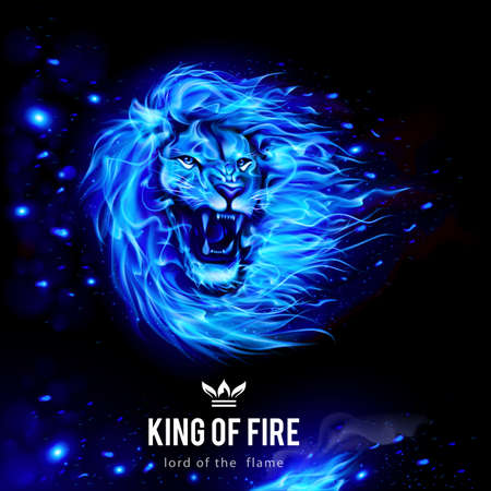 Cabeza de León agresivo en llamas azules. Rey de fuego. Ilustración sobre fondo negro Ilustración de vector