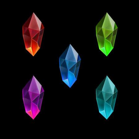 Ensemble de différentes ressources de jeu Gemmes ou cristaux de dessin animé. Symbole de luxe sur fond noir