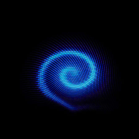 Abstract Background with Luminous Blue Swirling Backdrop. Intersection Curves. Glowing Spiral. The Energy Flow Tunnel