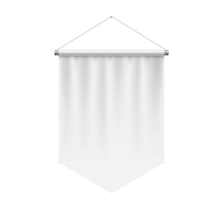Vertical White Pennant Hanging on a White Wall. Empty Template Illustration of Award Flag Symbol Mockup