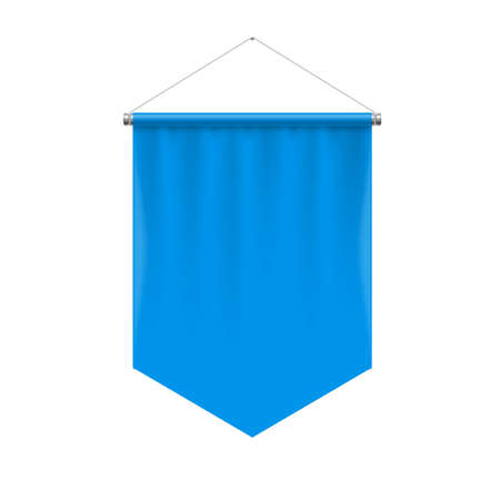Vertical Blue Pennant Hanging on a White. Empty Template Illustration of Award Flag Symbol Mockup