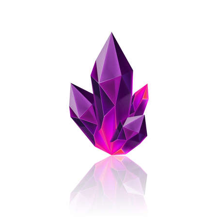 Magic Purple Crystal with Sparkle. Decoration icon for Games. Cartoon crystals Illustration. Stone Healing Energy on White Background Zdjęcie Seryjne - 120931235