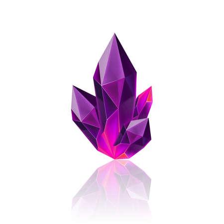 Magischer lila Kristall mit Funkeln. Dekorationssymbol für Spiele. Cartoon-Kristalle Illustration. Steinheilende Energie auf weißem Hintergrund
