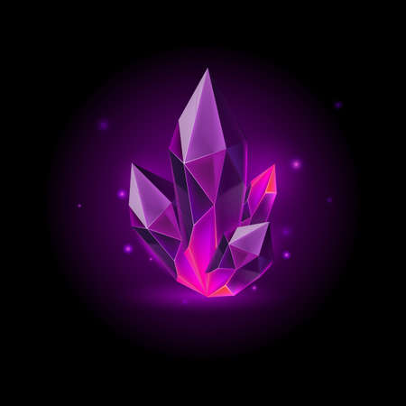 Magic Purple Crystal with Sparkle. Decoration icon for Games. Cartoon crystals Illustration. Stone Healing Energy on Black Background