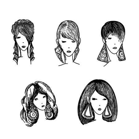 Set di donne avatar acconciature logo stilizzato insieme. Emblema di icone di stile di capelli femminili su sfondo bianco Logo