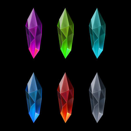 Ensemble de six pierres précieuses en forme de marquise. Gemmes ou cristaux de dessin animé. Symbole de luxe sur fond noir Vecteurs