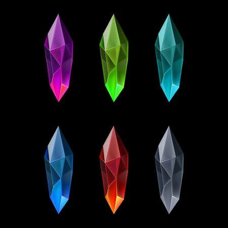 Set of Six Gems Marquise Shaped. Cartoon Gems or Crystals. Luxury Symbol on the Black Background Ilustracje wektorowe