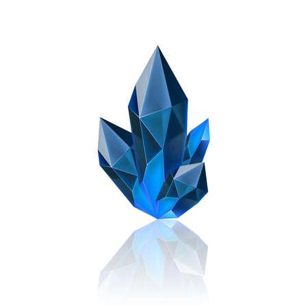 Magischer blauer Kristall mit Funkeln. Dekorationssymbol für Spiele. Cartoon-Kristalle Illustration. Steinmanaenergie auf weißem Hintergrund