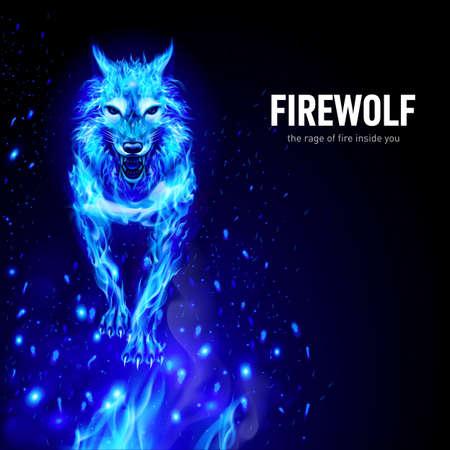 Aggressive Fire Woolf in Funken. Konzeptbild eines blauen Wolfes und einer Flamme auf schwarzem Hintergrund