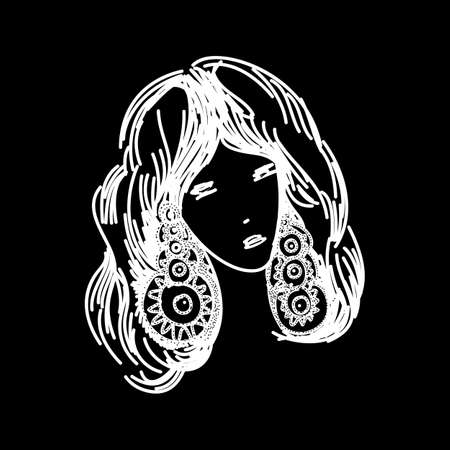 Silhouette of a Head of a Sweet Lady in Profile. The Girl Has a Beautiful Hairstyle with Long Hair. The woman is Beautiful and Stylish on Black Background Illustration