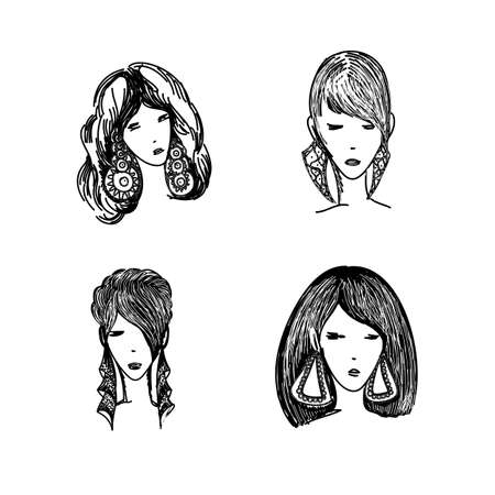 Icons Collection of Various Monochrome Cartoon Cool Girls, Young Ladies, Women. Modern Design Avatars Illustration Set. Isolated on White Background. Social Portraits for Profile Web Users