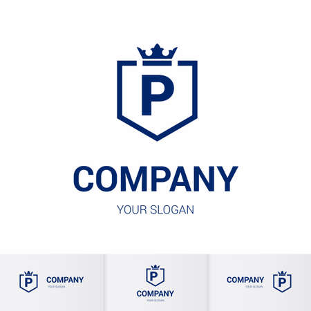 Illustration of Shield Badge-Shape with letter P in the Middle and Luxury Crown. Logo Icon Template for Web and Business Card, Letter Logo Template on White Background