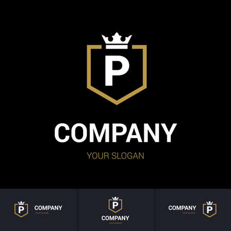 Illustration of Shield Badge-Shape with letter P in the Middle and Luxury Crown. Logo Icon Template for Web and Business Card, Letter Logo Template on Black Background