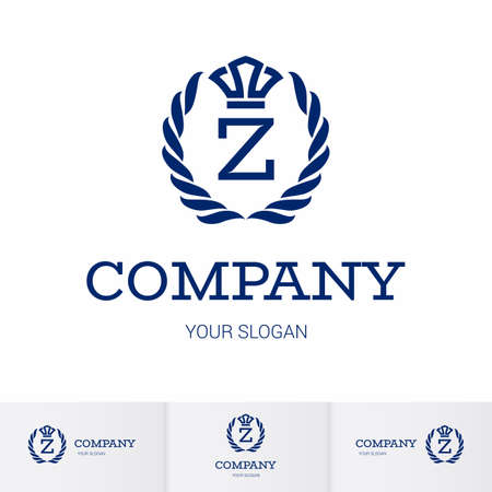 Illustration of Luxury Vintage Crest Logo with letter Z in the Middle and Luxury Crown. Calligraphic Royal Emblems and Elements Logo Icon Template on White Background