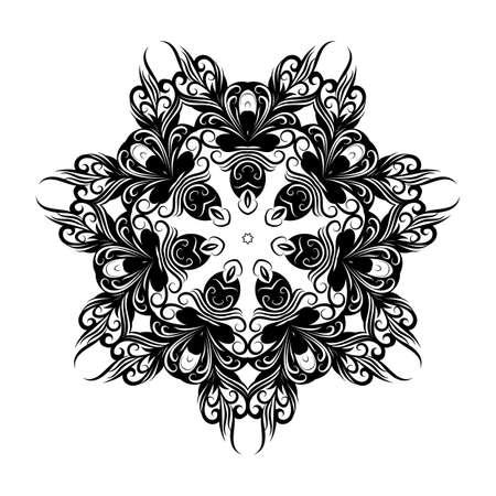 Lace Round Ornament. White Ethnic Mandala on White Background for Creative Design Idea