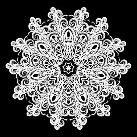 Mandala. for Design, Greeting Card, Invitation, Coloring Book. Arabic, Indian, Motifs. Illustration on Black Background Ilustração