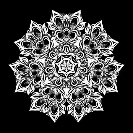 Vintage Antique Ornament Background. Illustration for Your Majestic art Design. Element for Web Design. Flower Round Lace Wallpaper on Black Background