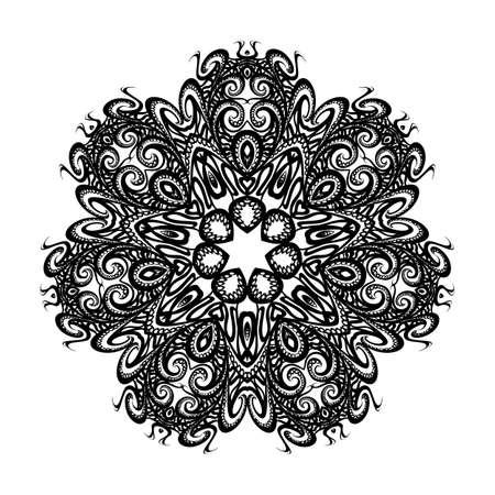 Mandala. Black Round Ornament. Vintage Decorative Elements on White Background