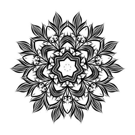 Illustration a Circular Pattern with Flowers from Lace on White Background Ilustração