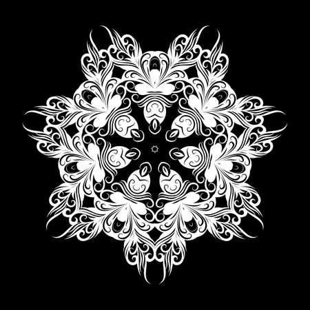 Lace Round Ornament. White Ethnic Mandala on Black Background for Creative Design Idea