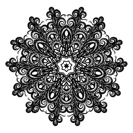 Mandala. for Design, Greeting Card, Invitation, Coloring Book. Arabic, Indian, Motifs. Illustration on White Background