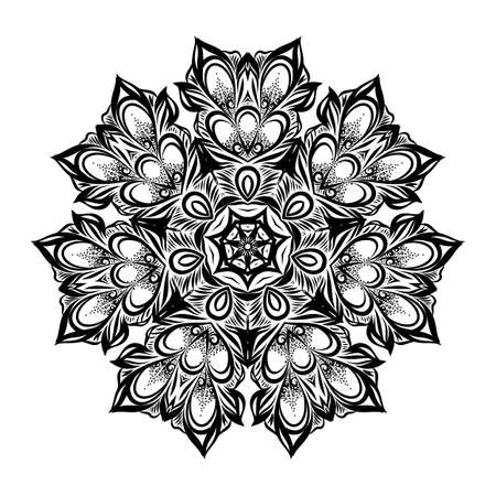Vintage Antique Ornament Background. Illustration for Your Majestic art Design. Element for Web Design. Flower Round Lace Wallpaper on White Background Ilustração