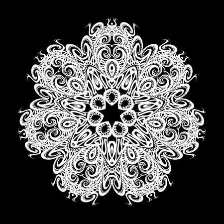 Mandala. Black Round Ornament. Vintage Decorative Elements on Black Background