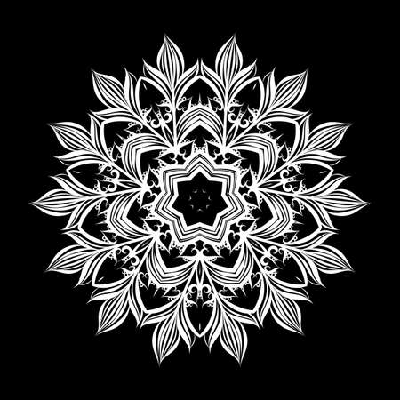 Illustration a Circular Pattern with Flowers from Lace on Black Background