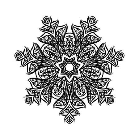 Lace Round Paper Doily, Lacy Snowflake, Greeting Element, Template for Cutting Plotter, Round Pattern, Laser Cut Template, Doily to Decorate the Cake, Illustrations on White
