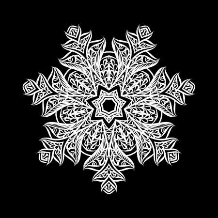 Lace Round Paper Doily, Lacy Snowflake, Greeting Element, Template for Cutting Plotter, Round Pattern, Laser Cut Template, Doily to Decorate the Cake, Illustrations on Black Ilustração