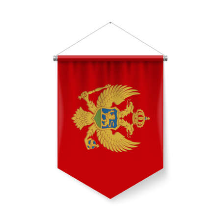 Vertical Pennant Flag of Montenegroas Icon on White with Shadow Effects. Patriotic Sign in Official Color and Flower Montenegrin Flag with Metallic Poles Hanging on the Rope. Ilustração