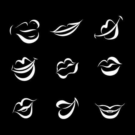 Red Women Lips on Black Background. Illustration Set of Doodle Womans Lips Expressing Different Emotions. Smile, Kiss, Half-Open. Isolated on Blackboard Ilustração