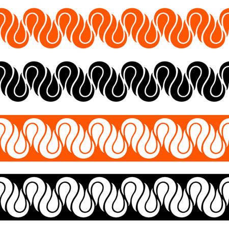 Colored Decorative Elements for Design with Entwined Strips Borders Ilustração