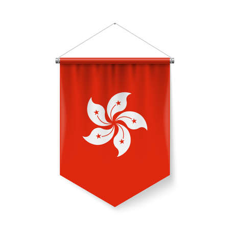 Vertical Pennant Flag of Hong Kong as Icon on White with Shadow Effects. Patriotic Sign in Official Color and Flower Hong Kong Flag with Metallic Poles Hanging on the Rope