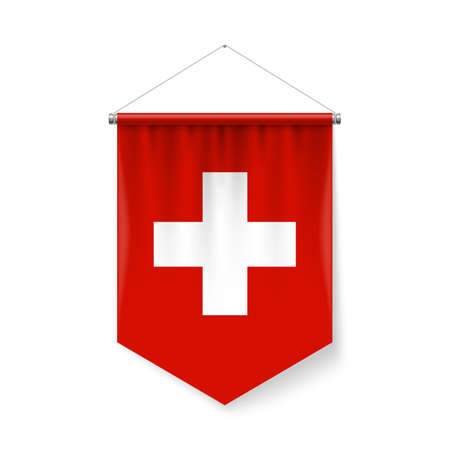 Vertical Pennant Flag of Switzerland Icon on White with Shadow Effects. Patriotic Sign in Official Color and Flower Swiss Flag with Metallic Poles Hanging on the Rope