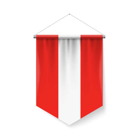 Vertical Pennant Flag of Austria as Icon on White with Shadow Effects. Patriotic Sign in Official Color and Flower Austrian Flag with Metallic Poles Hanging on the Rope Ilustração